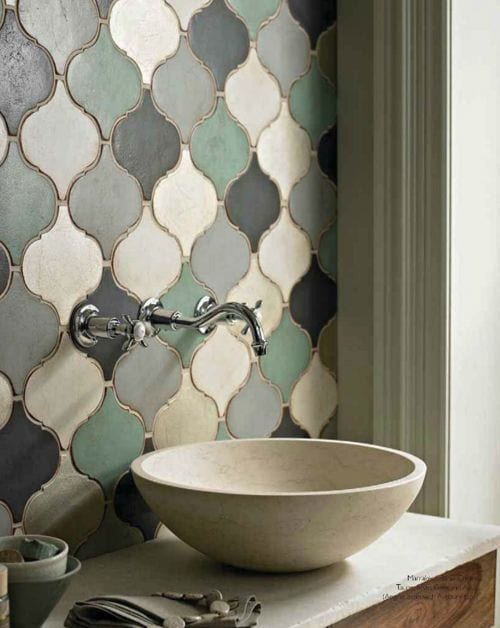 moroccan tiles and bowl basin
