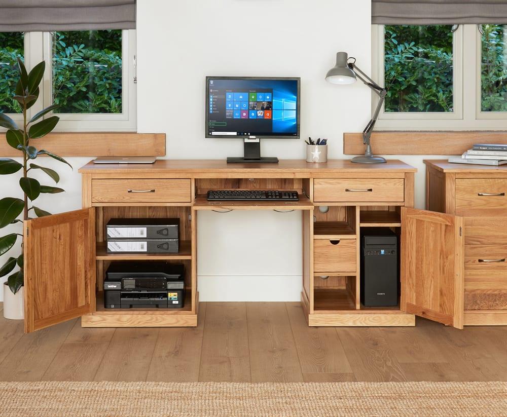 Mobel solid oak large hidden office twin pedestal desk for Mobel