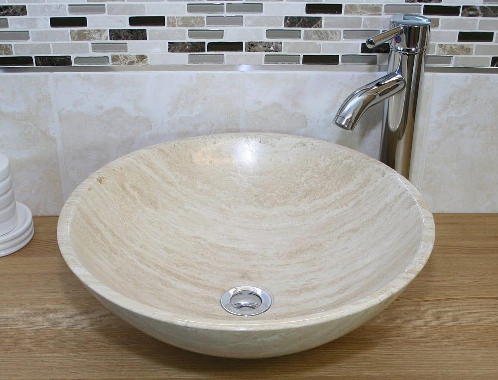 Travertine bathroom basin tap plug 025t for Travertine sinks bathroom