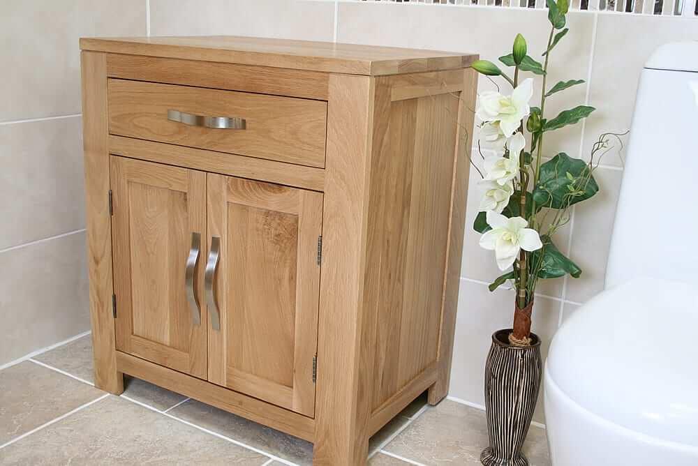 Milano Tall Bathroom Cabinet Mirrored Door Cupboard Storage Shelf Shelving Unit: Oak Bathroom Storage Unit 502