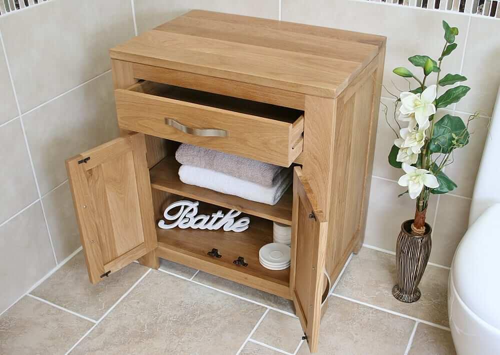 oak bathroom storage unit 502