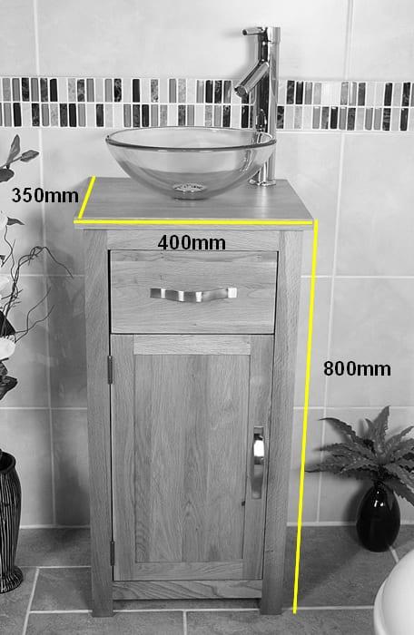 Glass Basin Bowl on Compact Oak Vanity Unit Measurments