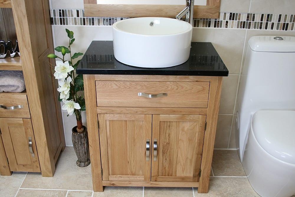 Single Basin Oak Vanity Unit with Black Quartz Top
