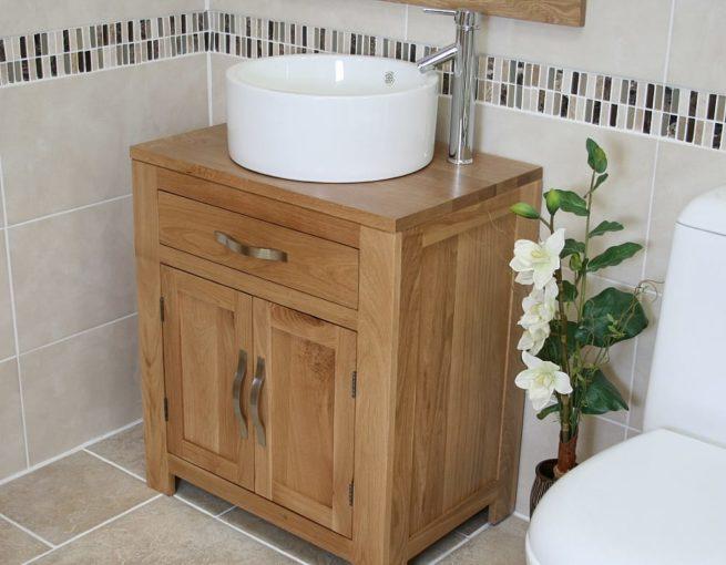 White Round Ceramic Basin on Oak Vanity Unit Side View