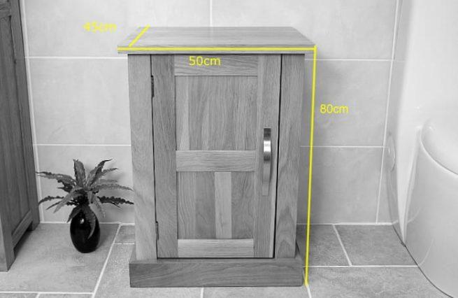 Single Basin Oak Vanity Unit - Front View Measurements