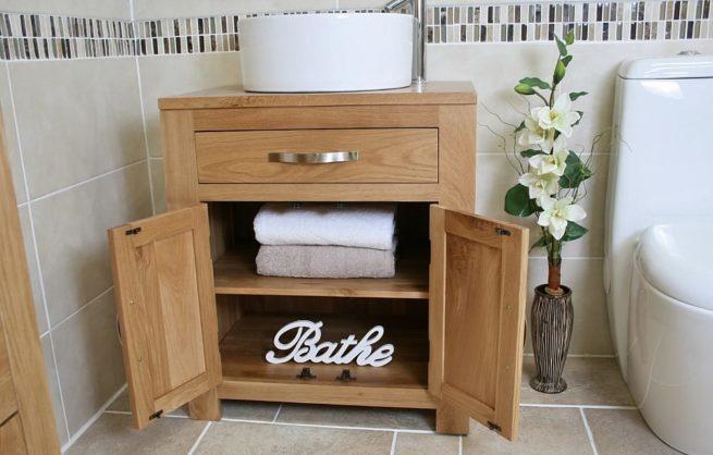 Oak Vanity Unit with Open Doors and Round Ceramic White Basin