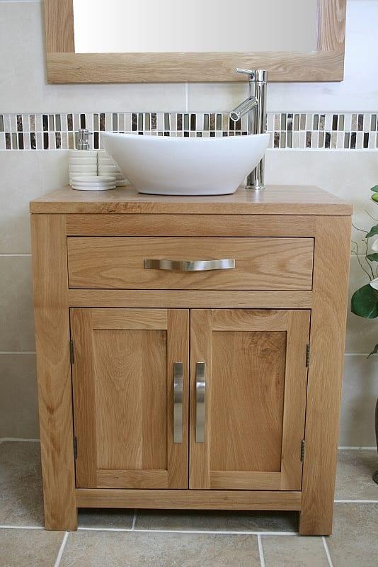 Oval White Ceramic Basin on Single Oak Vanity Unit