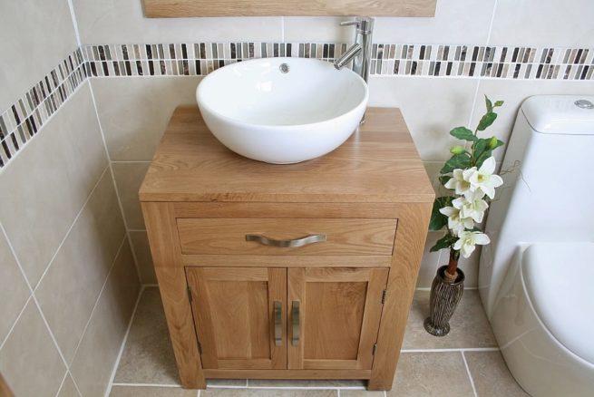 White Round Curved Bathroom Basin on Oak Vanity Unit