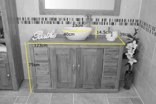 Measurements of the Large Oak Top Bathroom Vanity Unit