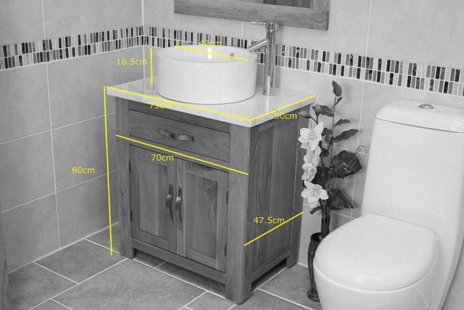 Measurements of Single Stone Topped Oak Bathroom Vanity Unit