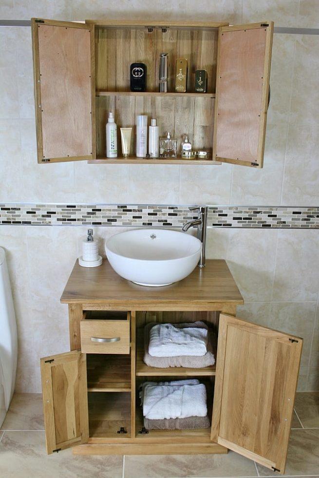 Oak Top Vanity Unit & Oak Mirror Bathroom Cabinet Set - Showing Storage