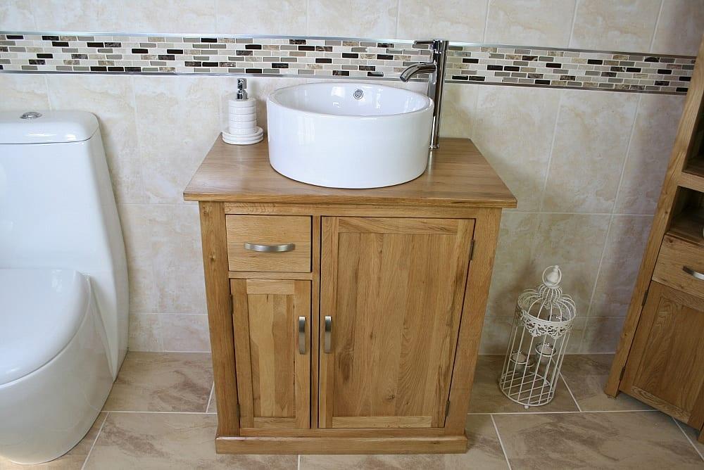 Round White Ceramic Bathroom Basin on Oak Top Vanity Unit