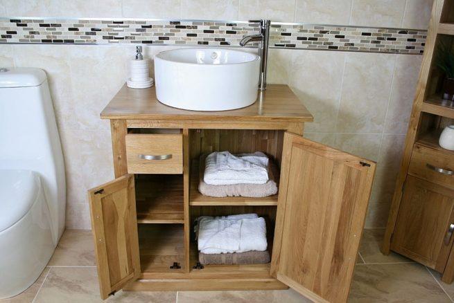 Oak Top Vanity Unit with White Round Bathroom Basin & Lots of Storage