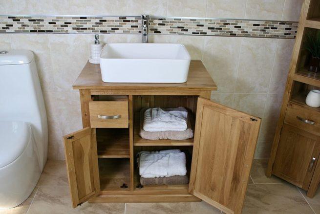 Oak Top Vanity Unit & White Rectangle Ceramic Bathroom Basin - Showing Storage
