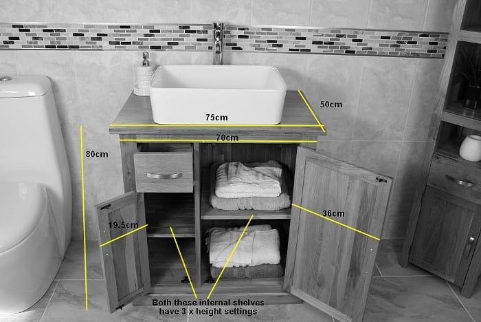 Oak Top Vanity Unit & White Ceramic Basin Choice - Measurements