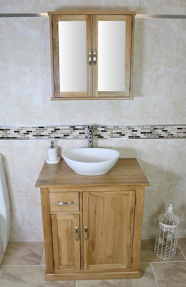 Oak Top Vanity Unit & Oval Ceramic Basin with Mirror Bathroom Cabinet Set