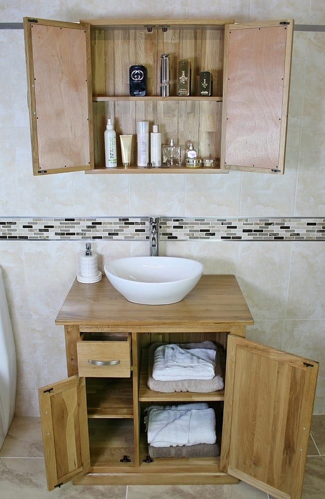 White Ceramic Oval Basin on Oak Top Vanity Unit with Oak Bathroom Cabinet Set - Loads of Storage