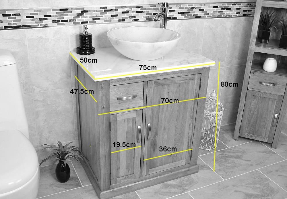Quartz Top Vanity Unit with Ceramic Basin - Measurements