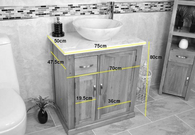 Oval White Ceramic Basin on Grey Quartz Top Vanity Unit - Measurements