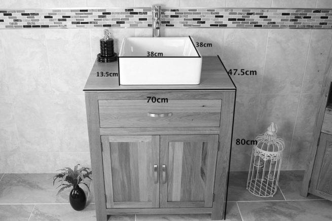 Square Ceramic White Basin on Solid Oak Vanity Unit - Measurements