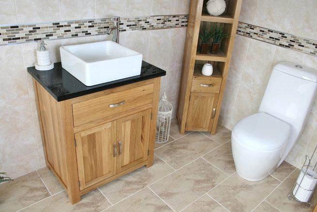 Side View of Square White Ceramic Basin on Black Quartz Topped Oak Vanity Unit