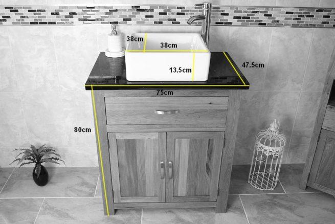 Measurements of Square White Ceramic Basin on Single Oak Vanity Unit with Quartz Top