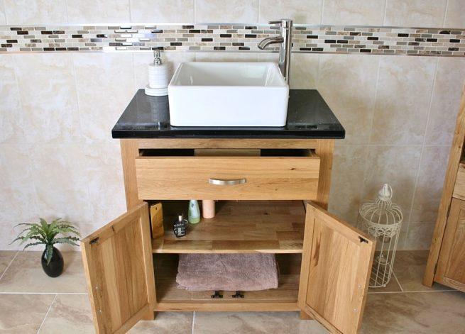 Front View of Square White Ceramic Basin on Black Quartz Topped Oak Vanity Unit Showing Cupboard Storage