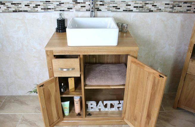 Square Ceramic White Bathroom Basin & Oak Storage Vanity Unit