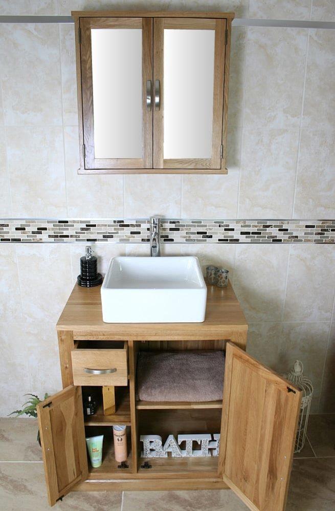 Square Ceramic Basin on Oak Top Vanity Unit with Mirror Bathroom Cabinet - Set