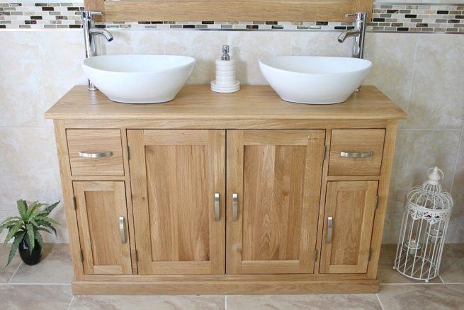 White Ceramic Oval Basins on Oak Topped Bathroom Vanity Unit