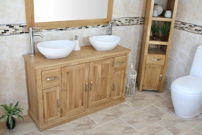Side View of White Ceramic Oval Basins on Oak Top Bathroom Vanity Unit