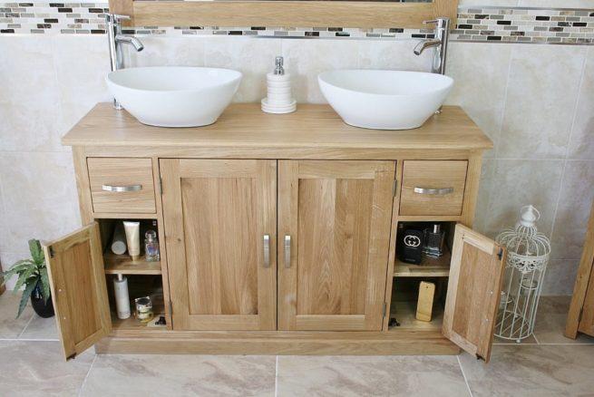 Oval Ceramic White Basins on Oak Topped Vanity with Opened Corner Storage Doors