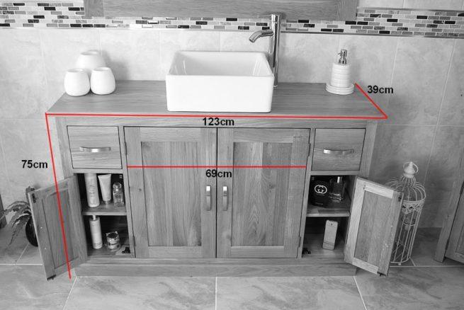 Measurements of Double Basin Oak Top Vanity Unit