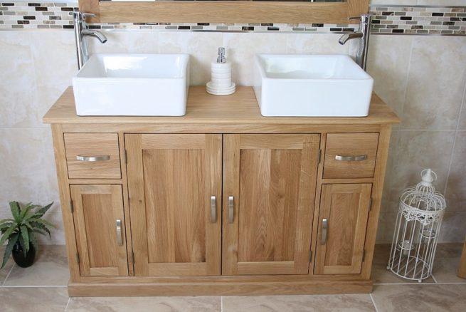 Two White Ceramic Square Basins on Oak Top Vanity Unit