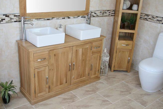 White Ceramic Square Basins on Oak Topped Bathroom Vanity Unit