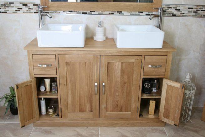 Square Ceramic White Basins on Oak Top Vanity with Opened Corner Storage Doors