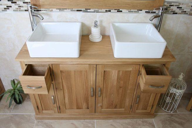 White Square Ceramic Basins on Oak Top Bathroom Vanity Unit Showing Opened Drawers