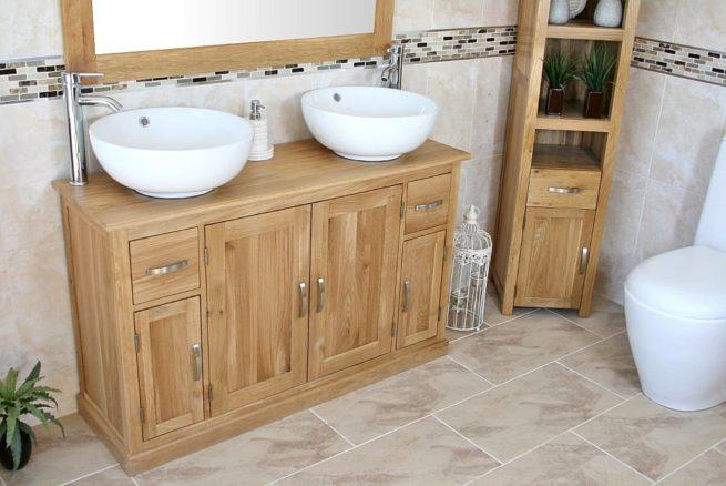 White Ceramic Round Basins on Oak Top Bathroom Vanity Unit