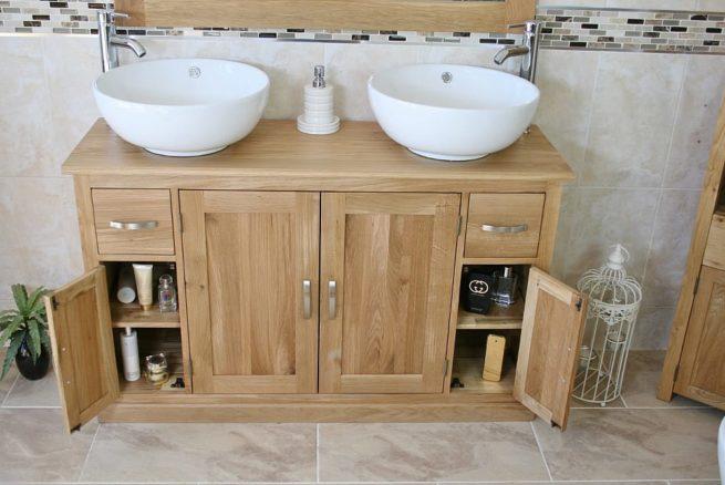 Round Ceramic White Basins on Oak Vanity with Opened Corner Storage Doors