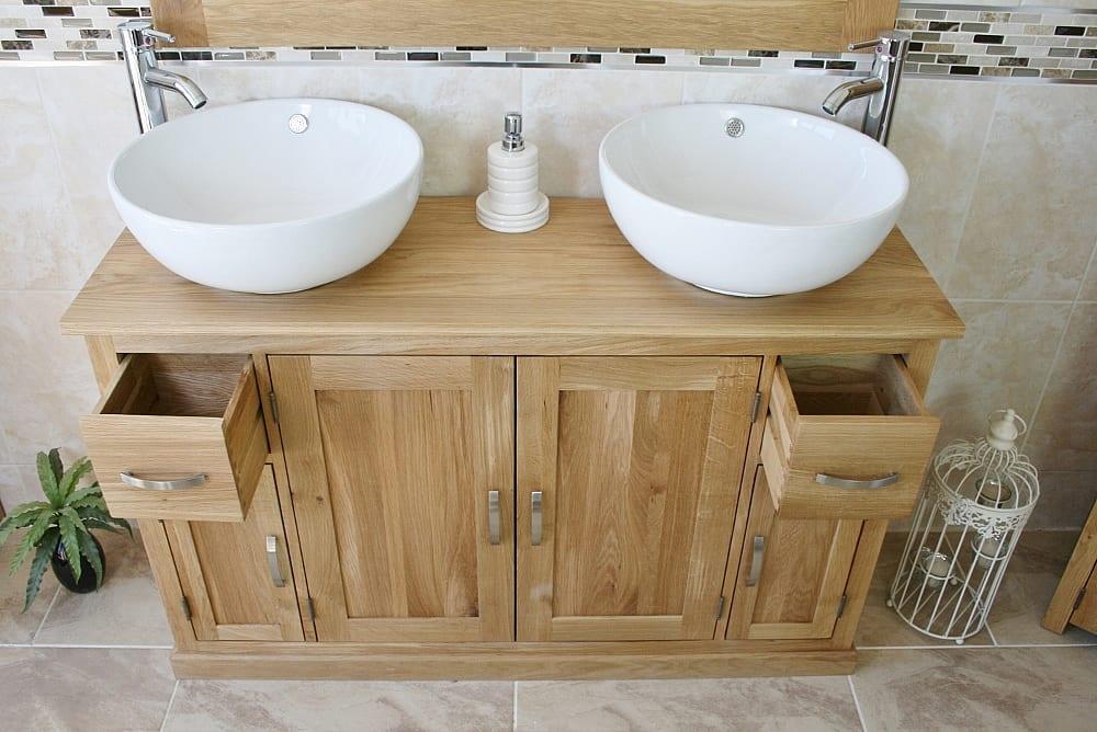 White Round Ceramic Basins on Oak Vanity Unit Showing Opened Drawers