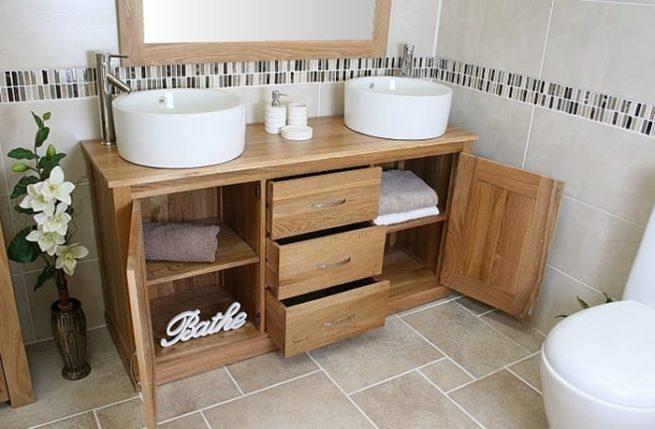 Open Oak Storage Unit and Large Ceramic Bathroom Basins