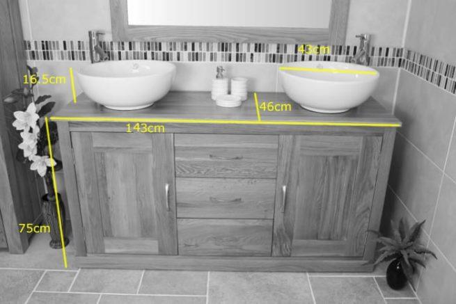 Twin Round Ceramic Basin Oak Top Vanity Unit Measurements
