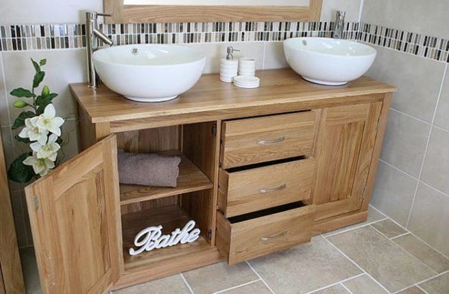 Twin Round Ceramic Basin Oak Top Vanity Unit With Storage