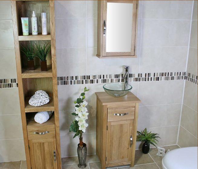 Glass Basin on Single Oak Top Vanity Unit With Oak Mirror Cabinet & Tall Oak Storage Unit