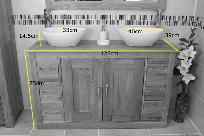 White Oval Ceramic Basins on Double Oak Vanity Unit -Dimensions
