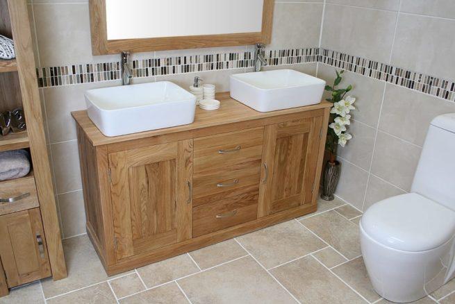 Large Double Rectangle Ceramic Basin Oak Top Vanity Unit