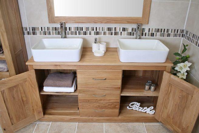 Double Rectangle Ceramic Basins Oak Top Vanity Unit with Storage
