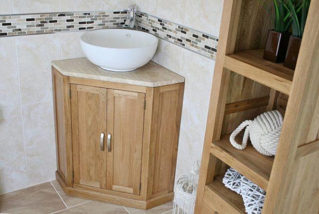 Ceramic Curved Bathroom Basin on Corner Travertine Top Vanity Unit