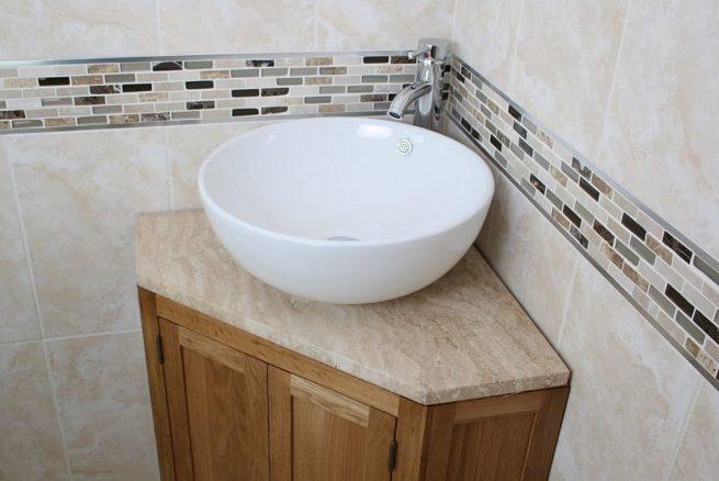 Curved Round Ceramic Wash Basin on Travertine Top Corner Vanity Unit - Closeup