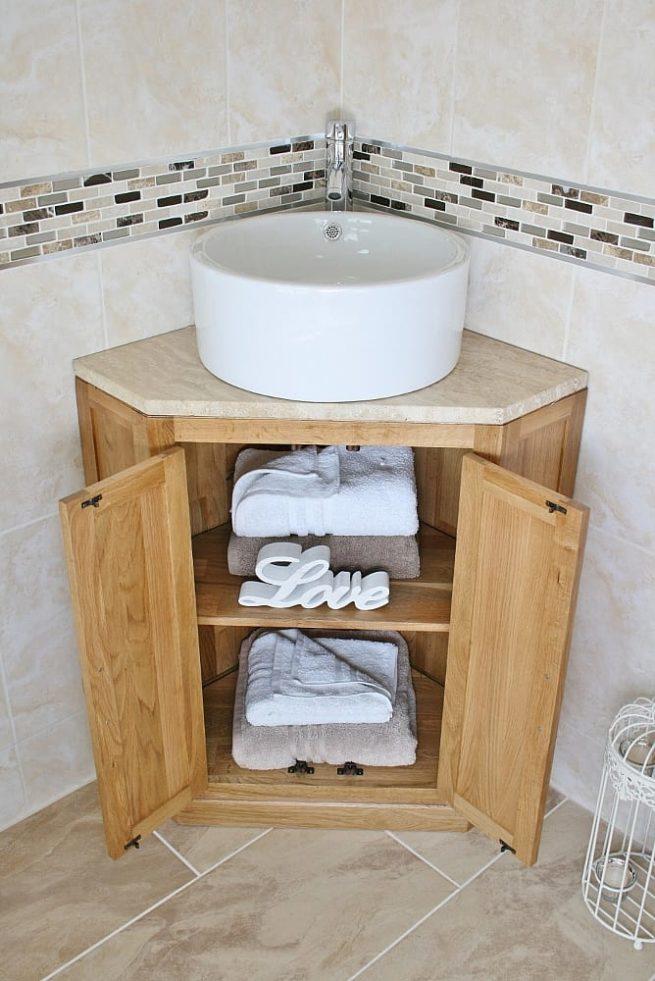 Corner Vanity Unit with Travertine Top & Round Ceramic Basin - Showing Storage
